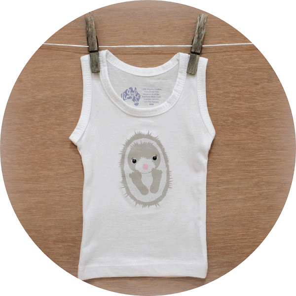 australian baby gifts organic cotton singlet vest with echo echidna