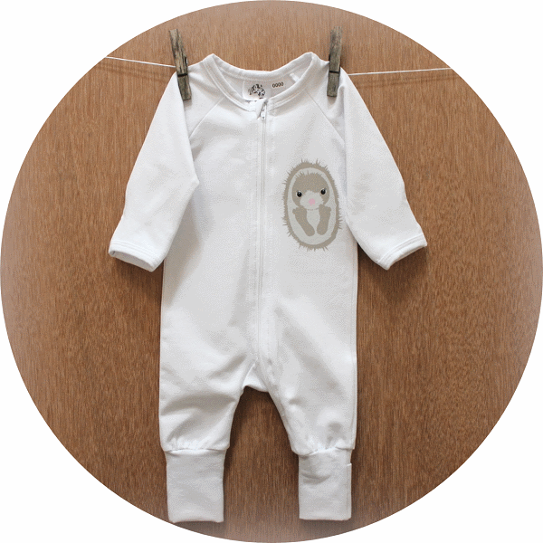 australian baby gifts organic cotton jumpsuit romper with echo echidna