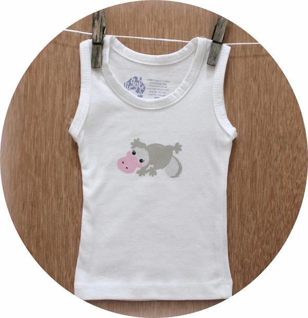 australian baby gifts organic cotton singlet vest with pebbles platypus